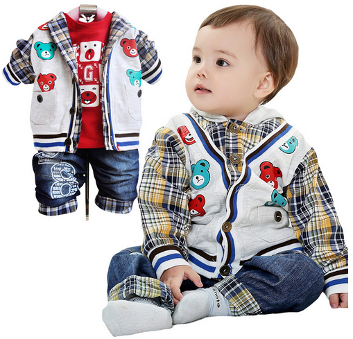 Anlencool 2017 Free shipping Activities clearance price spring and Autumn Europe youngster boy cowboy suit brand baby clothing