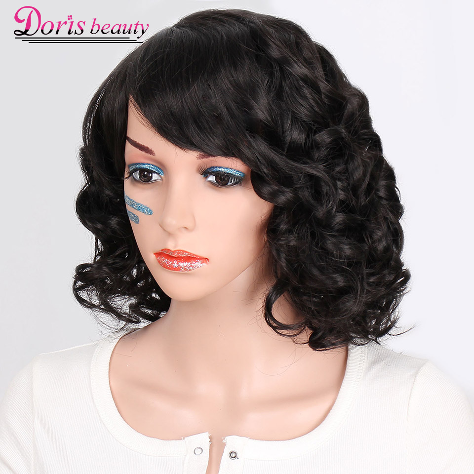 Doris beauty Black Synthetic Short Wigs for Women with Bangs Wavy Short Wig Heat Resistant Fiber ...