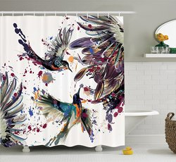 Hummingbirds Shower Curtain Set Lily Flowers Birds and Color Splashes in Watercolor Painting Style Bath Decor