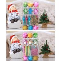 52Pcs Christmas Tree Hanging Ornaments Set Plastic Baubles Ball Pinecone Decoration Kit J2Y