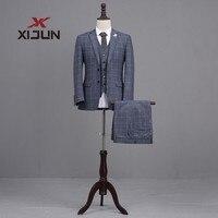 Xijun серый 3 предмета костюм (куртка + Брюки для девочек + жилет) повседневное Бизнес костюм женихов Для мужчин Смокинги для женихов Slim Fit Для му