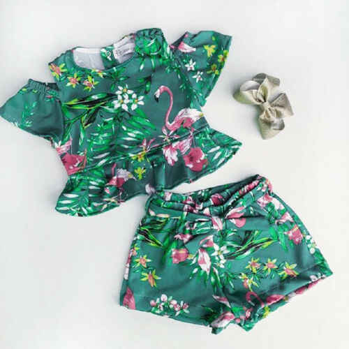 2019 Zomer Peuter Kids Baby Meisjes Bloemen Tops Shorts 2 PCS Sweet Casual Outfits Set Kleding