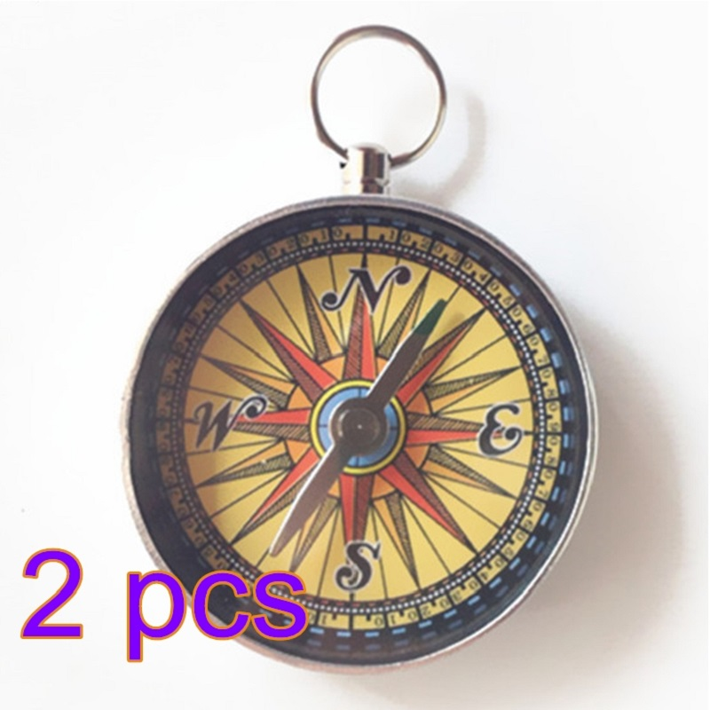 2Pcs/Set Mini Retro Outdoor Compass with Key Chain Hanging Compass Military Camping Backpack Hiking Survival Tools P15 mini kompas sleutelhanger