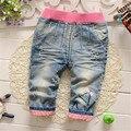 2016 Мода стиль милый ребенок брюки случайные новорожденных девочек джинсы полные штаны красивая детская одежда