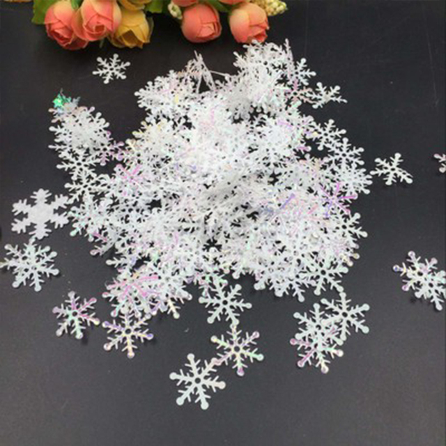 300pcslot frozen party supplies white fake snowflake christmas wedding decoration diy scene new year