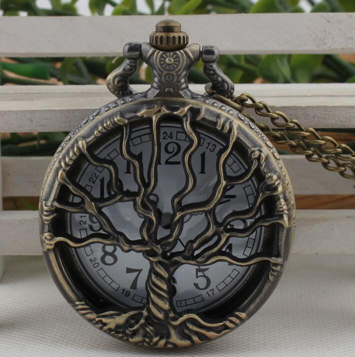 Hollow Tree Pocket Watch with Chain Necklace Retro