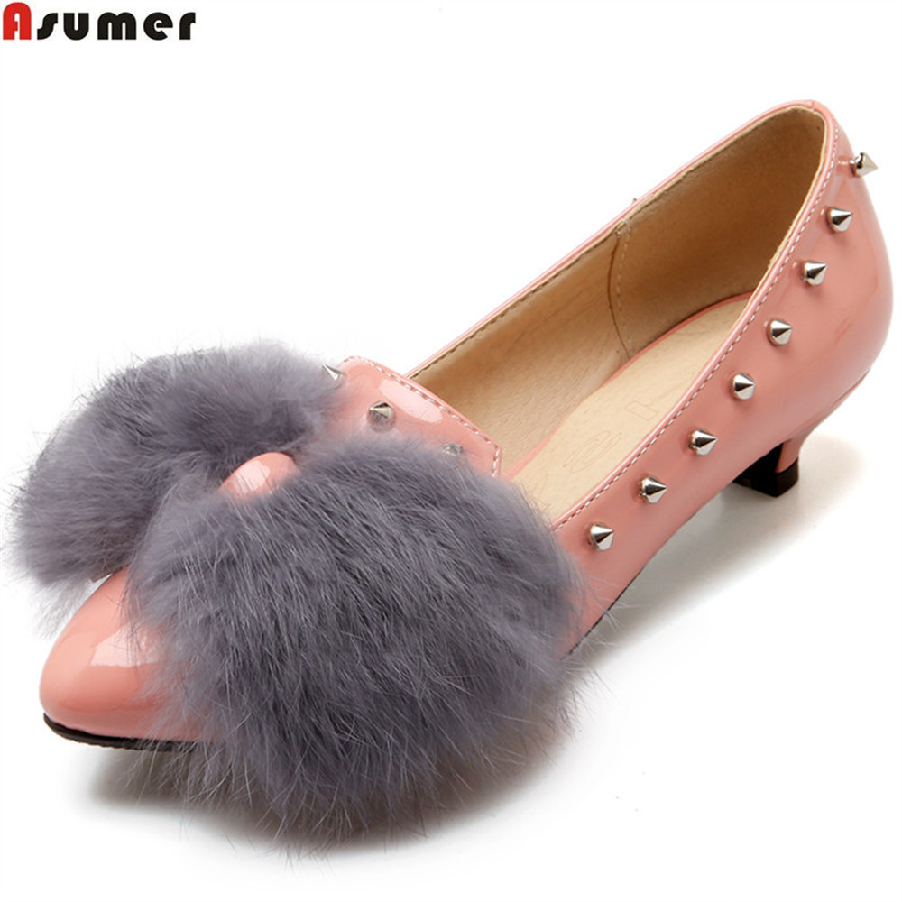 Asumer pink black fashion spring autumn women pumps pointed toe ladies single shoes shallow sweet rivet med heels shoes women genuine leather slip on pointed toe lazy shoes sweet bow knot shallow party spring autumn women pumps black pink