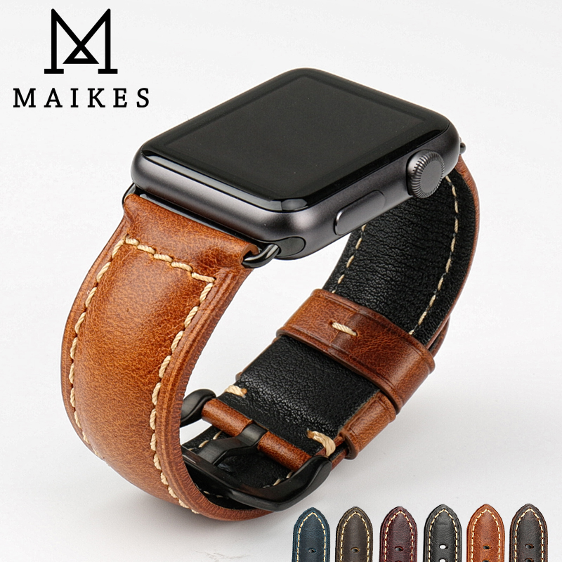 MAIKES Vintage genuine cow leather watch accessories for apple watch strap 38mm brown apple watch band 42mm iwatch bracelet maikes 18mm 20mm 22mm watch belt accessories watchbands black genuine leather band watch strap watches bracelet for longines