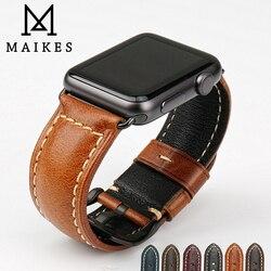 MAIKES hakiki inek deri izle aksesuarları apple saat kayışı için 40mm 38mm kahverengi apple saat bandı 44mm 42mm iwatch 4 bilezik