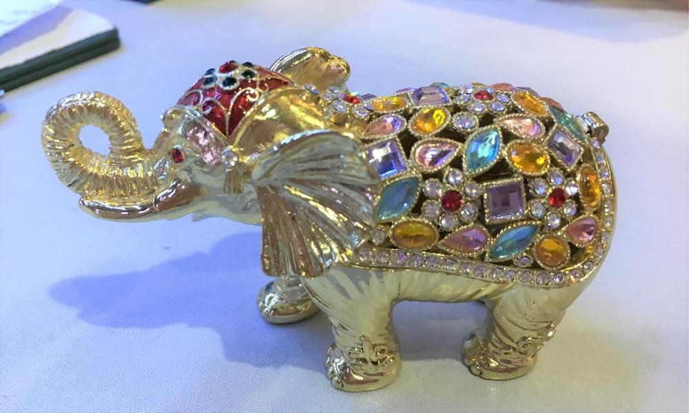 Color Stones Studded Elephant Jewelry Trinket Box Crystals Elephant Keepsake Display Box Cute Animal Shaped Gift yoursfs cute elephant animal studs серьги для девочек модные аксессуары для красоты