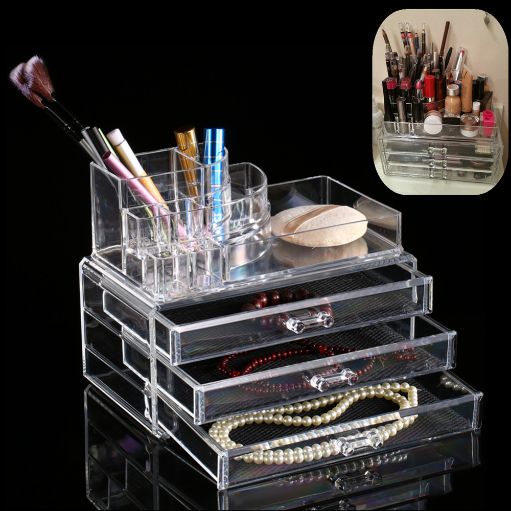 acrylic makeup organizer storage box case cosmetic jewelry 3 drawer cases holder makeup. Black Bedroom Furniture Sets. Home Design Ideas
