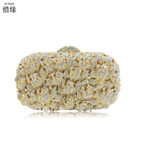XIYUAN BRAND luxury gold evening bag mother and father of the bride gift silver day clutches personalized bride gifts for party