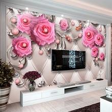 Custom 3D Photo Wallpaper Murals Modern Jewelry Flower TV Backdrop Wall Mural Living Room Bedroom Non-woven Waterproof Wallpaper цена 2017