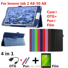 For lenovo tab2 A8 PU leather stand protective skin Tablets & e-Books Case for lenovo tab 2 A8-50 A8-50F A8-50LC+film+pen+OTG