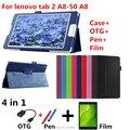 Para la lengüeta 3 8 pulgadas tb3-850m cuero tabletas y e-books case pie piel protectora para lenovo tab2 a8-50 a8-50f a8-50lc + película + pen + otg