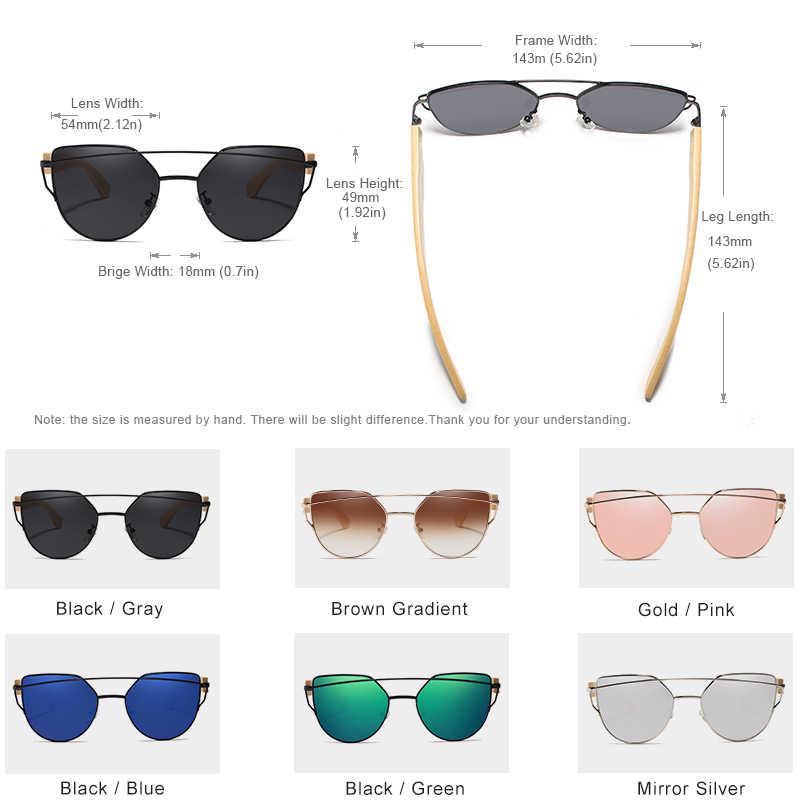 الأصلي KINGSEVEN العلامة التجارية الخيزران القط العين النظارات الشمسية الاستقطاب إطار معدني الخشب نظارات النساء نظارات شمسية فاخرة مع الخشب