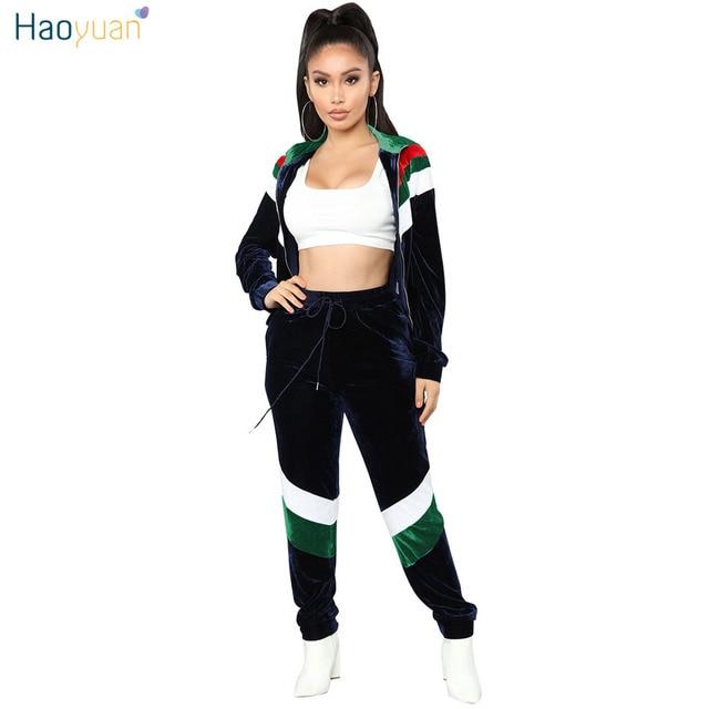 d13728a71f15e HAOYUAN Velvet 2 Two Piece Set Women Zip Coat Tops+Pants Sweatsuits Autumn  Winter Outfits Matching Sets Casual Velour Tracksuit