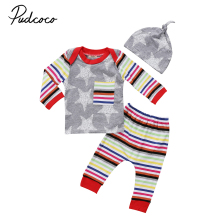 Autumn 3PCS baby boys girls clothes Set Newborn Baby Girl Boy star pattern T Shirt Tops+ striped Pants+Hat Outfits infant cloth(China)