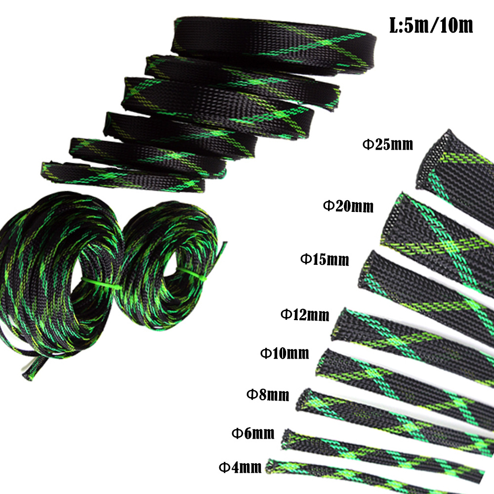 5M PET Braided Expandable Sleeve Black&Green&Yellow Wire Cable ...