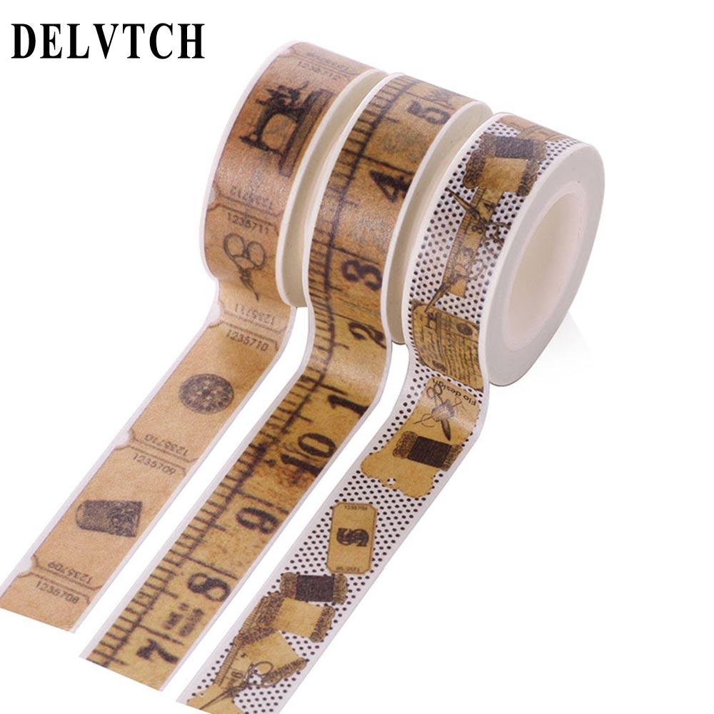DELVTCH 1.5cm*10m Vintage Retro Washi Tape Scrapbooking Album  Tape Office Supplies DIY Decorative Paper Adhesive Masking Tape