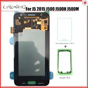 Image 1 - Test Süper Amoled Samsung Galaxy J5 2015 J500 J500F J500M Ekran dokunmatik ekranlı sayısallaştırıcı grup J500 LCD Değiştirme