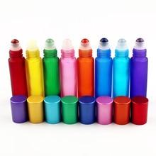 1 قطعة 10 مللي الزجاج الملونة الضروري النفط زجاجة مع الأحجار الكريمة الطبيعية الأسطوانة الكرة فارغة إعادة الملء زجاجات العطور السائل لفة على