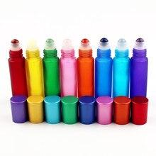 1PC 10ml Bunte Glas Ätherisches Öl Flasche mit Natürlichen Edelstein Roller Ball Leere Nachfüllbare Parfüm Flaschen Flüssigkeit Rolle auf