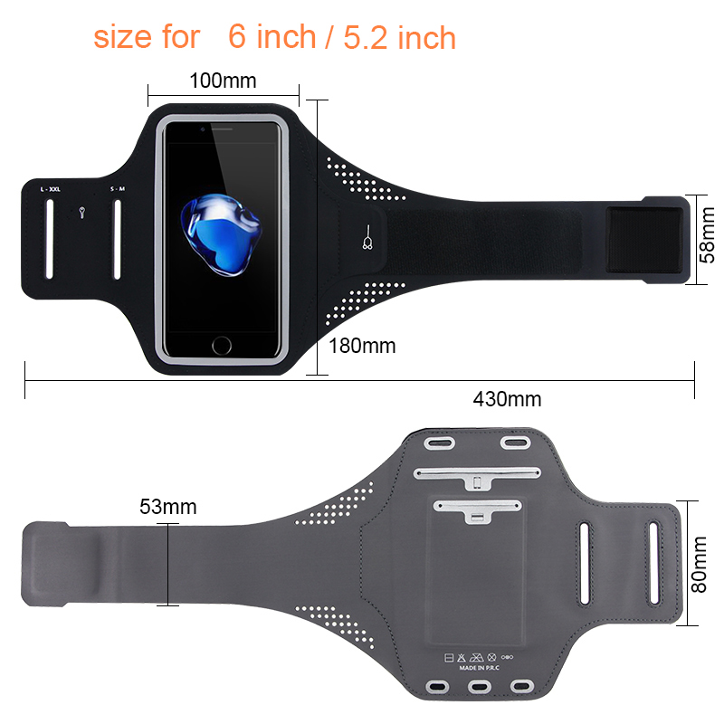 Fashion Sport Armband Phone Case For IPhone 7 6 6s 8 Plus X Waterproof Running Case For Xiaomi For Samsung Universal <=6.0 Inch