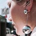 New Brand 2016 Punk Style Big Metal Beads Earrings Long Drop Earrings Women Party Statement Hanging Earrings Jewelry