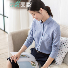 INMAN 2017 spring new literary style pure cotton polka-dot long sleeves shirt women blouse tops