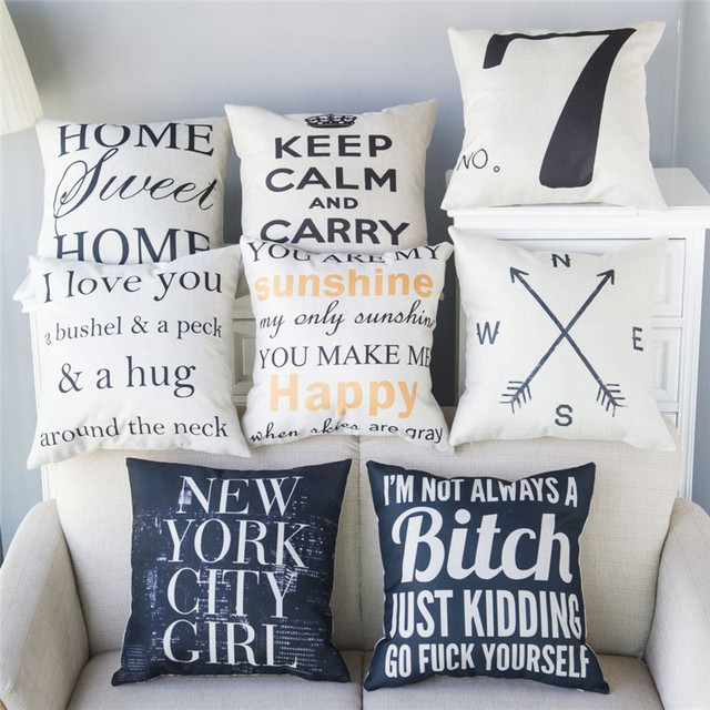 Decorative Pillows Cases Letter Cojines Cushion Covers Chair Sofa Luxury Throw Home Linen Cotton Protector P44