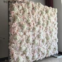 De seda Artificial Hortensia Rosa 3D de paneles de pared de fondo fiesta boda decoración etapa arco Rosa 8 unids/lote TONGFENG