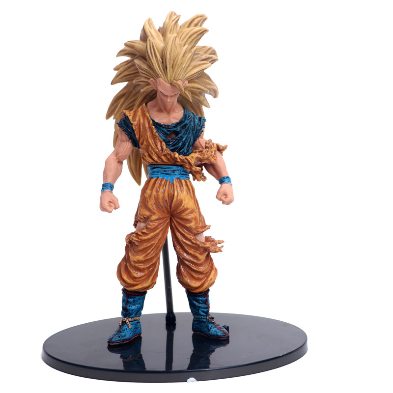 Dragon Ball Z Goku Chocolate Super Saiyan 3 Brush Kneeling Wave Blood Pvc Figure Dbz Collection Model 20cm Action & Toy Figures