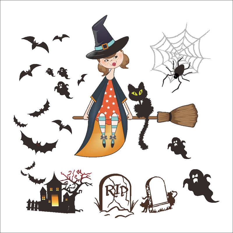 halloween decoration flying witch broom ghost bat wall stickers cupboard refrigerator festival decor wall decal mural poster - Flying Halloween Witch