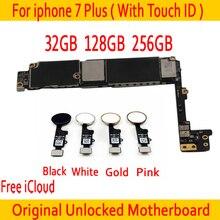 Для Apple iphone 7 Plus материнской платы с Touch ID, оригинальный разблокирована для iphone 7 плюс материнская плата с бесплатной iCloud, для iphone 7 P пластины