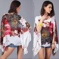 Mulheres Verão Solto Blusa 2015 Nova Moda Floral Impressão Chiffon Batwing Luva Casual Shirt Top Blusas de Chiffon Praia Verão