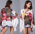 Women Summer Loose Blouse 2015 New Fashion Floral Print Chiffon Batwing Sleeve Casual Shirt Top Summer Chiffon Beach Blouses