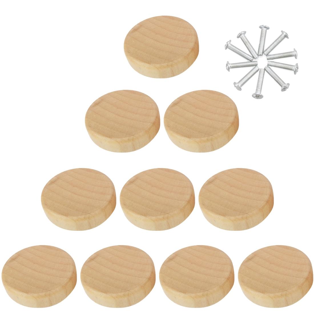 8/10/peças/20/50 peças, de madeira sólida único furo, alça de gaveta, porta de armário, madeira puxador para móveis maçaneta ferragens