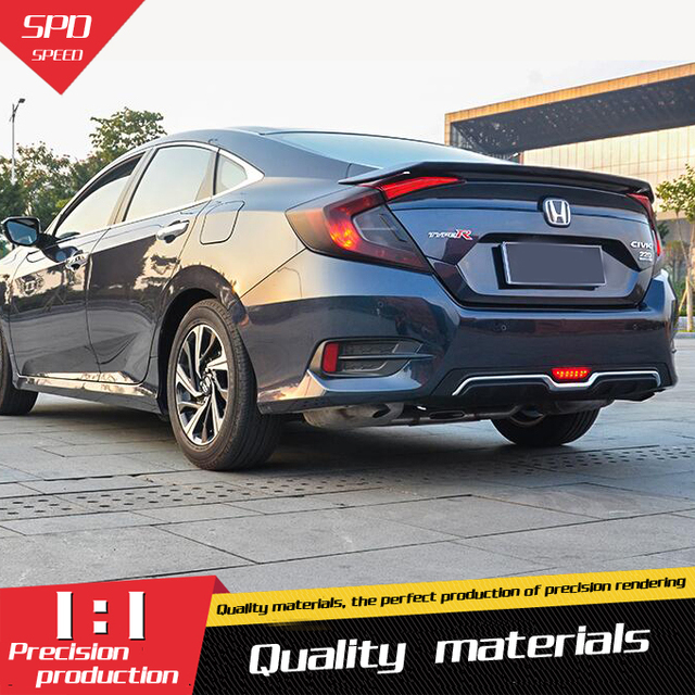 For Honda Civic Rear Spoiler Abs Rear Bumper Diffuser Bumpers Protector For 16 Civic Body Kit
