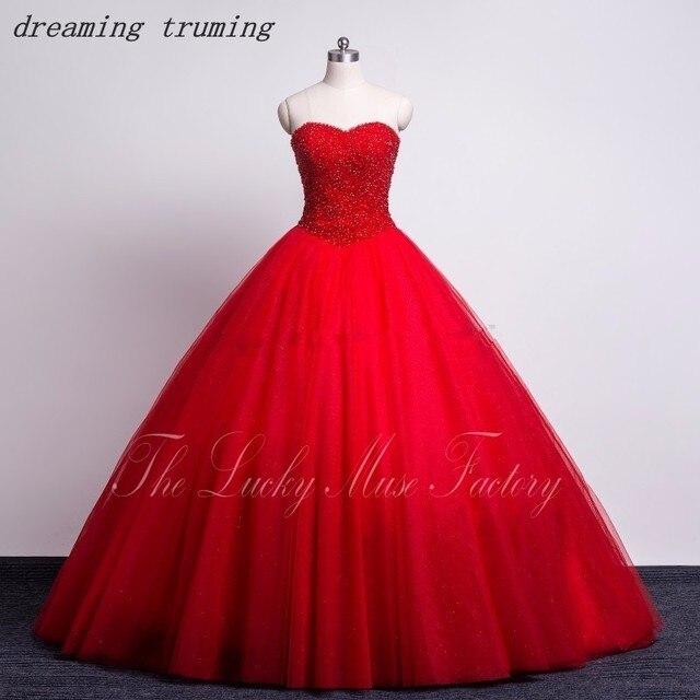 9883f795e Personalizado rojo 2019 Quinceanera vestidos cordón tul largo dulce 16 años  vestidos de princesa por 15