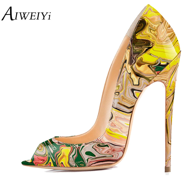 AIWEIYi Women High Heels Platform Pumps Print 8CM/10CM/12CM Stilettos High Heels Dress Party Pumps Shoes Ladies Wedding Shoes aiweiyi women s pumps shoes 100