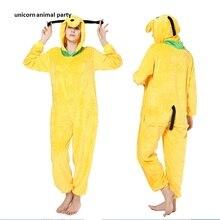 Pluto Dog Unisex Pajamas Set Sleepsuit Pyjamas Kigurum Halloween Onesie Costume Sleepwear by Newcosplay Cartoon jumpsuits boys dog onesie