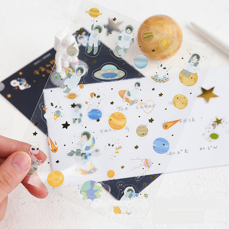 Mohamm Cosmic Drift Series Kawaii Cute Sticker Custom Stickers Diary Stationery Flakes Scrapbook DIY Decorative Stickers