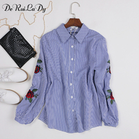 DeRuiLaDy Women Long Sleeve Blouse Floral Embroidery Striped Shirt Fashion Women White Casual Blouses Camisas Femininas