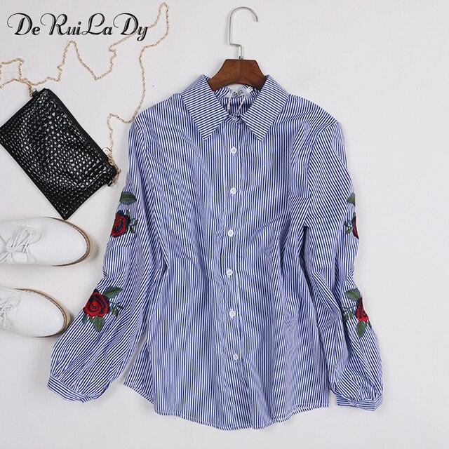 DeRuiLaDy осень Лето рубашка женская мода одежда для женщин блузка Роза печать рубашки женские белый Женские топ рубашка Длинный рукав Вышивка блузки рубашки Шифоновые блузки