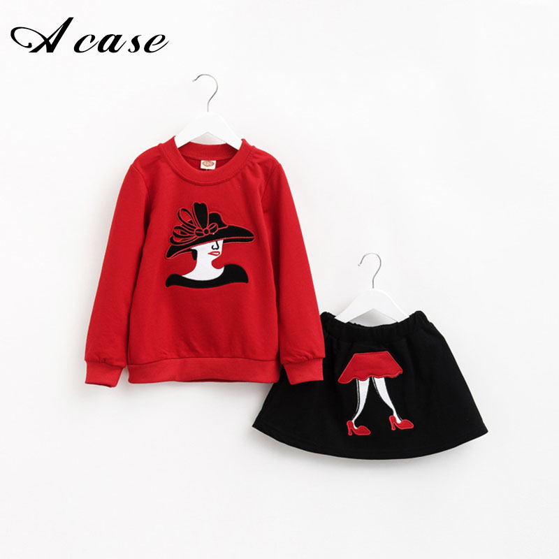 2 Pcs/set New Kids Girls Clothing 2018 Toddler Cartoon Long Sleeve T-shirt + Skirt Suits Children Autumn Winter Warm Clothes Set fashion minnie t shirt long tutu skirt 2 pcs baby girls clothing children cartoon suits new summer clothes set free shipping