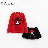 2pcs Set New Kids Clothes Girls Clothing Sets Baby Girl Cartoon T Shirt Skirt Children Girl