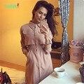 TAOVK 2016 new summer Russian style Women Autumn Long sleeved Dress Pink Black long section lapel dress