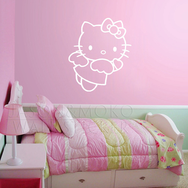 Cute hello kitty angel wall sticker art vinyl decal mural for Baby room decoration wallpaper