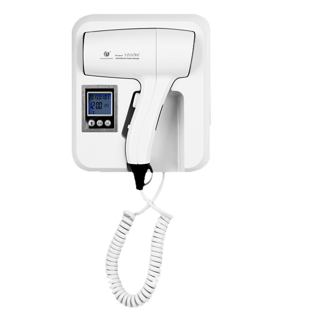 Hair Dryer Wall Mount Thermostatic Temperature Adjustment Electric Blower Hairdryer Hairblower LCD Hotel Home